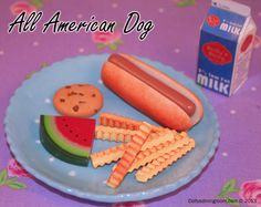 Take a bite out of Americana with Dolly's premium beef all American hot dog that's grilled to perfection, and served in a soft, warm bakery bun. Golden crinkle-cut French fries, juicy watermelon, a chewy chocolate chip cookie with ice cold milk make this meal a true classic.