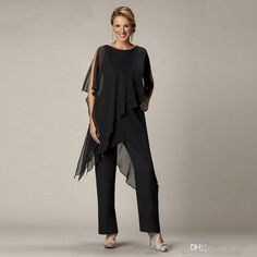 Black Chiffon Mother Of The Bride Pant Suits Jewel Neck Wedding Guest Dress Tiered Cheap Mothers Of The Groom Dresses
