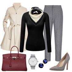 e6f2b3f7f0 Capsule Wardrobe Winter work outfit with Grey and beige scarf Blue earrings  Grey watch Burgundy bag Grey pumps Black top Beige coat Grey slacks women