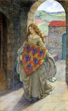 Eleanor Fortescue-Brickdale (English artist) 1872 - 1945,  Lancelot and Elaine, Then to her tower she climbed and took the shield, thus kept it and so lived in fantasy. Idylls of the King, Alfred Tennyson, s.d. watercolour with bodycolour, 16.5 x 10.6 in.