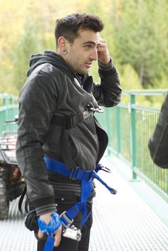 Jacob Hoggard of Hedley. From the One Life video shoot where Jake bungee jumped 4 times in a row!!  He's a little crazy!!