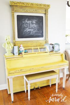 She bought an old piano for $50 and painted it. (home tour)