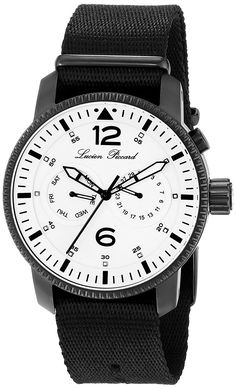 Lucien Piccard Men's Expeditor Analog Display Swiss Quartz White Watch * You can get more details by clicking on the image. Cool Watches, Watches For Men, Men's Watches, Lucien Piccard, Black Nylons, Leather Men, Omega Watch, Quartz, Mens Fashion