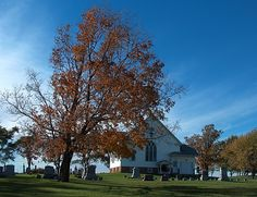 Salem United Methodist Church in the rural town of El Dorado, the Cemetery dates back to early 1850's.  Wisconsin, Midwest