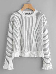 Frill Trim Pinstripe Sweatshirt