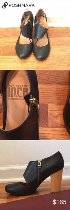 """Fortress of Inca Victoria Luz heel, 7, leather Handmade in Peru, fair trade, Fortress of Inca brand heels. I absolutely LOVE these shoes. 3.75"""" wood heel, leather upper featuring open-side & gold zipper detail. Only wore around the house, but sadly they're too big for me. Fortress of Inca Shoes Heels"""