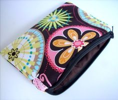 SALE Zipper Pouch ECO Friendly Padded Little Coin Purse  Brown Carnival Bloom by JPATPURSES