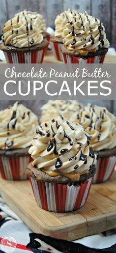 Chocolate Peanut Butter Cupcakes! Easy dessert recipe for parties, holidays, or celebrations! Homemade treats that kids love!