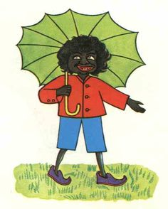"Little black samba book cover. Despite this book being about an Indian boy, the illustrations in the original European version portray Sambo using ""darky iconography"", with black skin, wildly curly hair, and bright red lips. The word ""sambo"" has a long history as a racial slur against blacks. Because the story itself does not contain any racist ideas, recent publications remain tell the same story, with new images to replace the offensive originals."