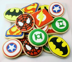 Super-hero cookie platter! Logos from Marvel and DC comics super heroes! Batman, Spiderman, Superman, Green Lantern, The Flash, and Captain America.