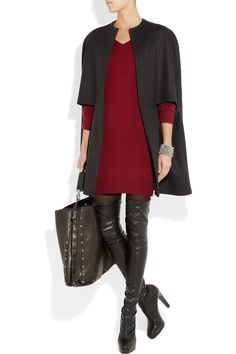 Stella McCartney outfit - love the (faux) leather pants & oxblood red top