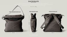 """Unique """"Back2Back"""" laptop bag by Hard Graft. Can carry it as a briefcase, messenger bag or backpack."""