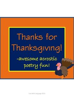 Three acrostic poem templates and a fun word scramble for Thanksgiving! 3rd Grade Classroom, Classroom Ideas, Thanksgiving Writing, Poetry Books, Creative Writing, Cool Words, Poems, Activities, Third Grade