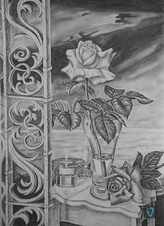 White, red rose by Valian . Pencil