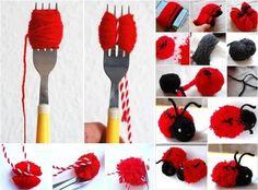 Creative Ideas - DIY Adorable Pompom Yarn Ladybug