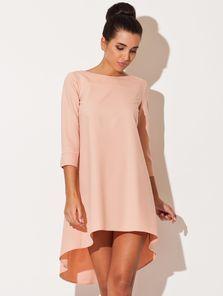Нежное персиковое асимметричное стильное платьице