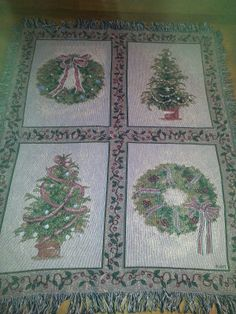 Details about  Beautiful Christmas Blanket Throw-Cheri Blum Tree & Wreath Desi  Priced at $28.80