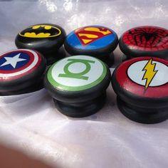 Set Of Six Superhero Logo Furniture Knobs - home