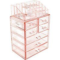 Sorbus Acrylic Cosmetic Makeup and Jewelry Storage Case Display - Spacious Design - Great for Bathroom, Dresser, Vanity and Countertop (3 Large, 4 Small Drawers, Pink)