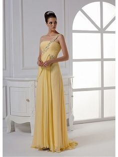 Column One-shoulder Floor-length Chiffon with Beading Prom Dress
