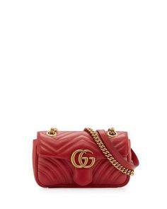 GG Marmont Matelassé Mini Bag, Red