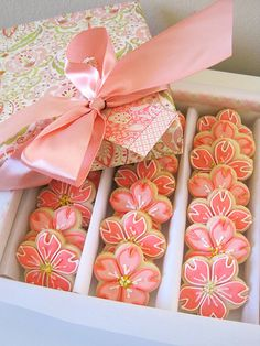 Peachy Pink Cherry Blossom Cookies by IcingDreams, via Flickr