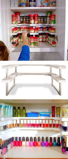 55 Genius Storage Inventions That Will Simplify Your Life -- A ton of awesome organization ideas for the home (car too! A lot of these are really clever storage solutions for small spaces. organizin (Diy Storage For Small Spaces) Garage Tool Organization, Kitchen Organization, Organization Hacks, Organizing Ideas, Organising, Spice Rack Organization, Garage Tools, Diy Organizer, Shoes Organizer