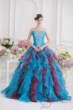 Ball Gown Strapless Satin Organza Crystal Quinceanera Dress