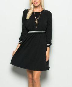 Look at this #zulilyfind! Black & White Stripe Empire-Waist Dress #zulilyfinds