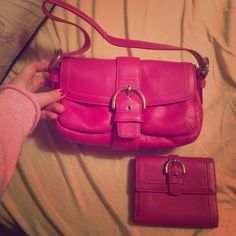 Coach Bag and Matching Wallet Such a pretty pink/purple color. Can be sold with or without the wallet. The bag is brand new never used. The wallet has some wear seen in picture and there is a tiny little mark on the front of the bag. The bag was $248 (without the wallet) Coach Bags Mini Bags
