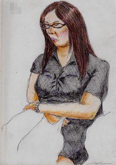 黒いワンピースのお姉さん(通勤電車でスケッチ) It is a sketch of a woman wearing a black  one-piece dress.  I drew in a commuter train.