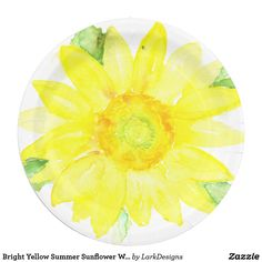 Bright Yellow Summer Sunflower Watercolor Paper Plate