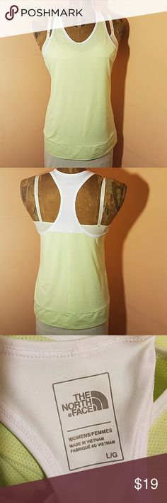The North Face performance tank Spring green and white. Breathable and layerable fabric. Great condition. The North Face Tops Tank Tops