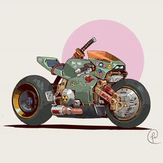 Ronin by Fernando Correa Motorcycle Art, Bike Art, Motorcycle Birthday, Pixel Art Logo, Nail Bat, Art Moto, Art Cyberpunk, Cyberpunk Tattoo, Cyberpunk Aesthetic