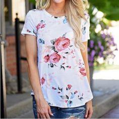 Fashion Teenage Round Neckline Little Floral Print Top