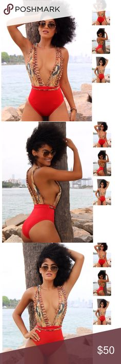 Miss Africa red printed Wild swimsuit, open back Model wearing size S. fashion Miami Styles Swim One Pieces