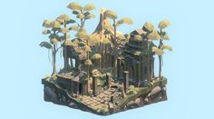 A jungle temple in ruins inspired by various ancient Cambodian temples for week 13 of 52 Arts. Making architecture and then ruining it is fun, so I might do some more of these from different cultures.<br><br>As always, see all past pieces in the project here