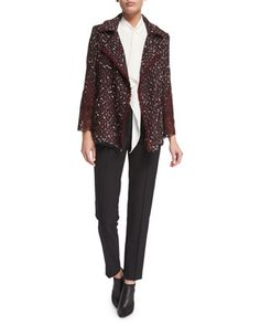 Open-Front+Paillette+&+Lace+Jacket,+Sleeveless+Pleated-Front+Blouse+&+Tusko+Straight-Leg+Ankle+Pants+by+Escada+at+Neiman+Marcus.