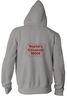 WORLDS GREATEST MOM Adult Zippered Jacket ASH GREY LARGE