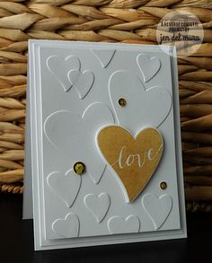 Card by Jen del Muro. Reverse Confetti stamp set and coordinating Confetti Cuts: Heart to Heart. Anniversary card. Valentine's card. Wedding card.