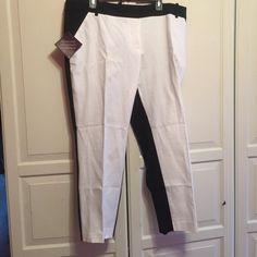 Plus size black and white tuxedo pants