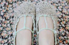Beautiful t-strap crochet bootie slippers