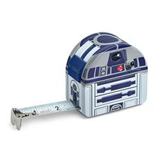 This Star Wars R2-D2 Tape Measure is metal and features a locking mechanism, as well as measurements in increments of both inches and centimeters.