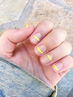 los angeles / travel diary - as told by ash and shelbs / manicure at olive & june Diy Nails, Cute Nails, Pretty Nails, Minimalist Nails, Yellow Nail Art, Manicure E Pedicure, Cute Nail Designs, Perfect Nails, Simple Nails