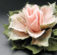*FELT ART ~ Sweet Pink and Moss Green Felt Flower Brooch by Brigite on Etsy,