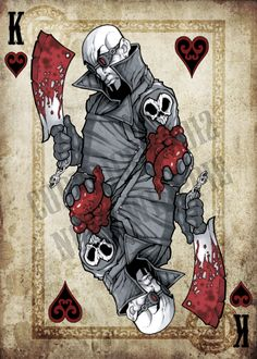 Part three of the ongoing card project, the king of heart's played by yours truly EDIT: You may have noticed a change, the previous copy was kind of a q. King of Hearts Printable Playing Cards, Playing Cards Art, Custom Playing Cards, Jack Of Spades, Play Your Cards Right, Art Carte, Card Tattoo, Cartoon Sketches, King Of Hearts