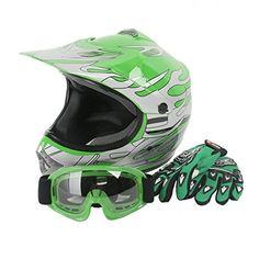 XFMT Youth Kids Motocross Offroad Street Dirt Bike Helmet Goggles Gloves Atv Mx Helmet Green Flame M. For product info go to:  https://www.caraccessoriesonlinemarket.com/xfmt-youth-kids-motocross-offroad-street-dirt-bike-helmet-goggles-gloves-atv-mx-helmet-green-flame-m/