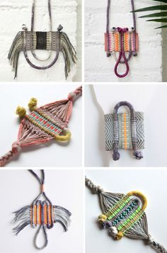 Macrame is so hot right now and we're totally addicted. There's some fantastic macrame kits out there, but to get started why not grab any yarn, string, thick thread or twine you have lying around and try some of theseREAD Textile Jewelry, Macrame Jewelry, Fabric Jewelry, Diy Jewelry, Jewellery, Fabric Necklace, Fashion Jewelry, Weaving Textiles, Tapestry Weaving