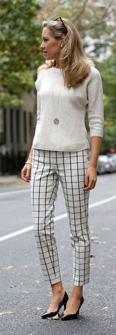 Spring / summer - street chic style - casual style - business casual - office wear - work outfit - cream sweater + golden necklace + windowpanencrop pants + black stilettos
