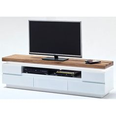 Romina LCD TV Stand In Knotty Oak And White Matt With LED Light